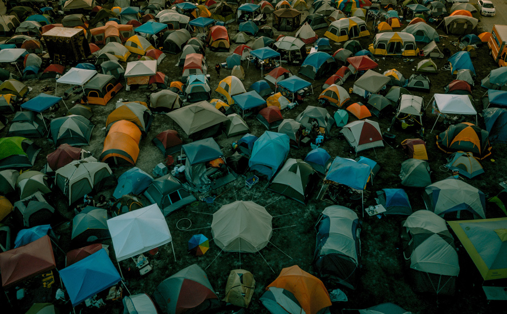 Tents crammed together